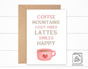 Cozy Vibes Card - Mountain Card - Coffee Cup Card - Custom Card - Birthday Card - Thank You Card - Encouragement Card - Thank You Card
