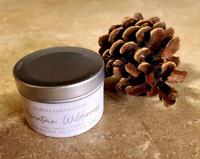Mountain Wilderness Soy Candle - Pine Scented Candle - 5 Oz Candle - Vegan Candle - Mountain Gift - Rustic Home Decor