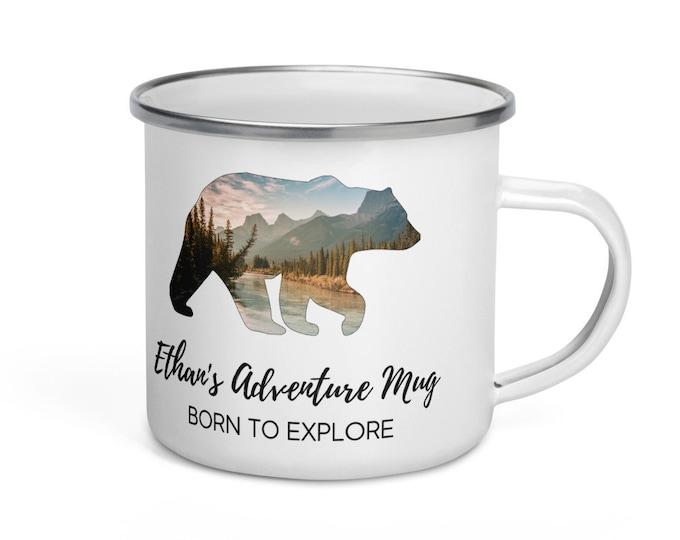 Personalized Enamel Bear Mug