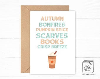 Autumn Card - Pumpkin Spice Card - Cozy Card - Birthday Card - Encouragement Card - Thank You Card - Book Lover Gift - Fall Stationery