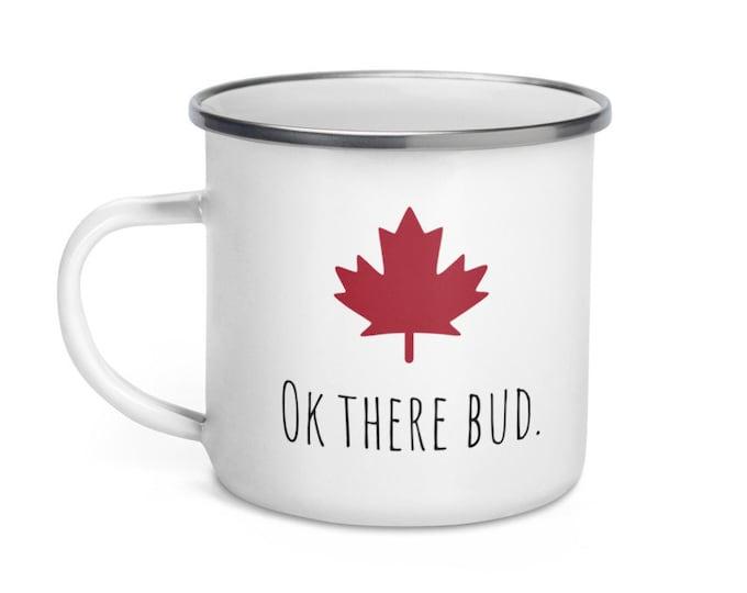 OK there Bud Enamel Mug