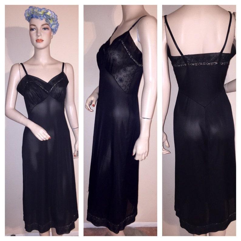 Vintage Black Chiffon Over Nylon Bust Full Dress Slip Mystery Brand Sz 34