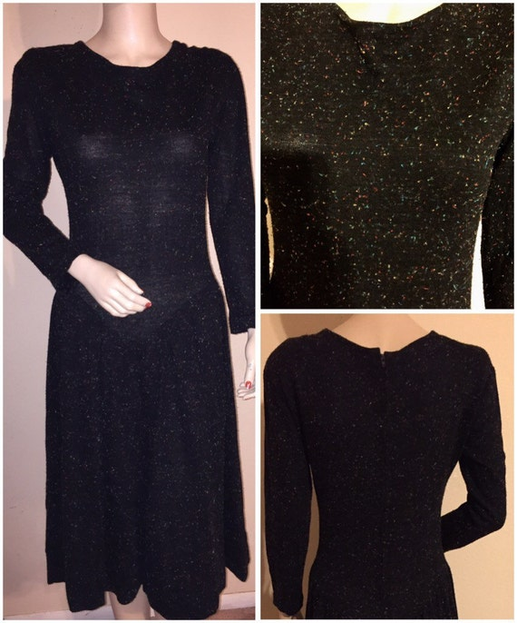 Vintage Black Atomic Fleck dress in black, Sz M-L