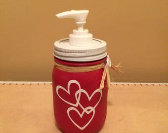 Mason Jar Soap Dispenser, Valentines Decor, Bathroom Decor, Valentines Day, Mason Jar Decor, Kitchen Decor, Southern Decor, Housewarming
