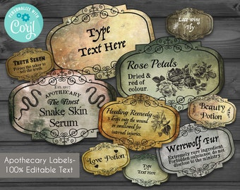 image regarding Harry Potter Apothecary Labels Free Printable named Potion labels Etsy