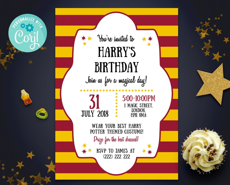 0069424ba77 Magical Party Invite 5x7 Invitation Harry Potter