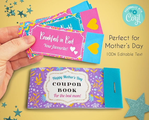 Editable Mother's Day Coupon Book  Personalised Coupon