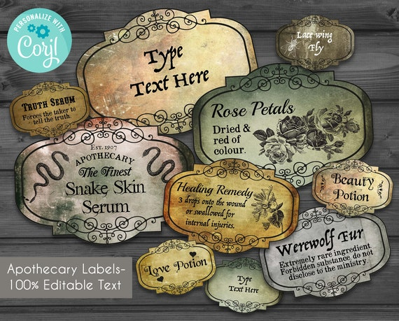image about Printable Potion Labels identify Editable Apothecary Potion Labels, Blank basic Labels