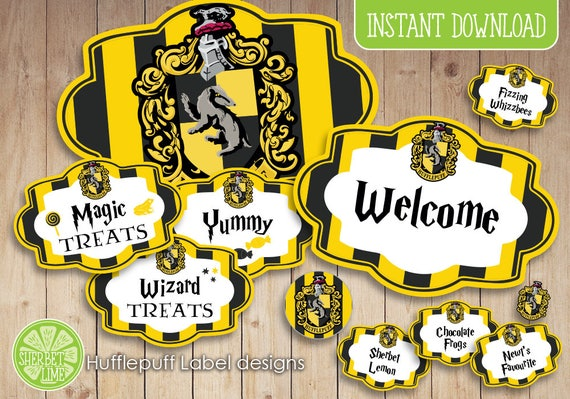 140 Harry Potter Inspired Hufflepuff Sweetcandy Labels Etsy