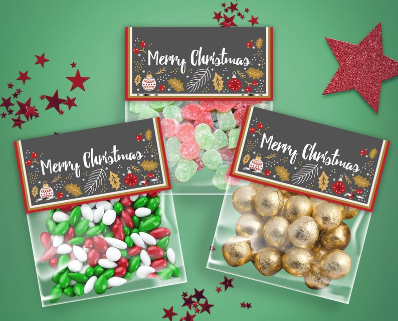 Christmas Treat Bag Toppers | Sweet | Candy | Food Labels | Party | Party  Favors | Party Favours | Christmas Candy | Holiday Sweets