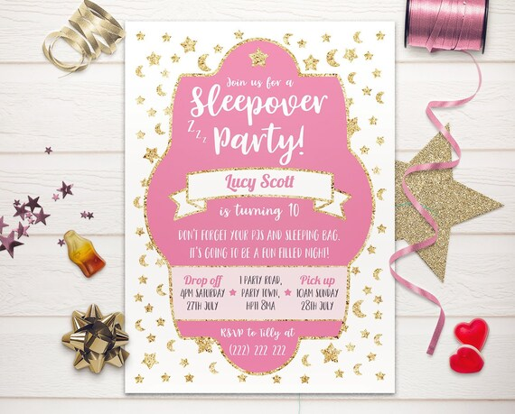 Birthday Invites inc envelopes Personalised Pizza Party Sleepover