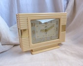 Antique french art deco mechanical alarm clock. Ivory bakelite brass 1930s alarm clock. Art deco style. Man cave Gift for man. Fathers day