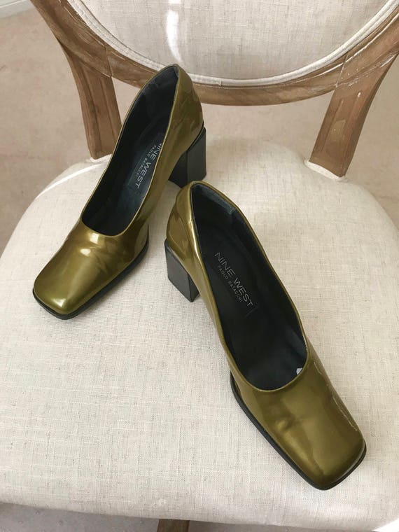 410b0d4d497c Vintage Square Toe Heels 90s Olive Green Patent Leather