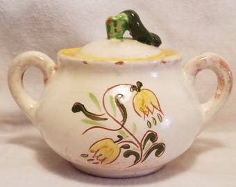 STANGL SUGAR BOWL Terra Rose Lid Tulip Yellow Trenton New Jersey Pottery Collectible Vintage