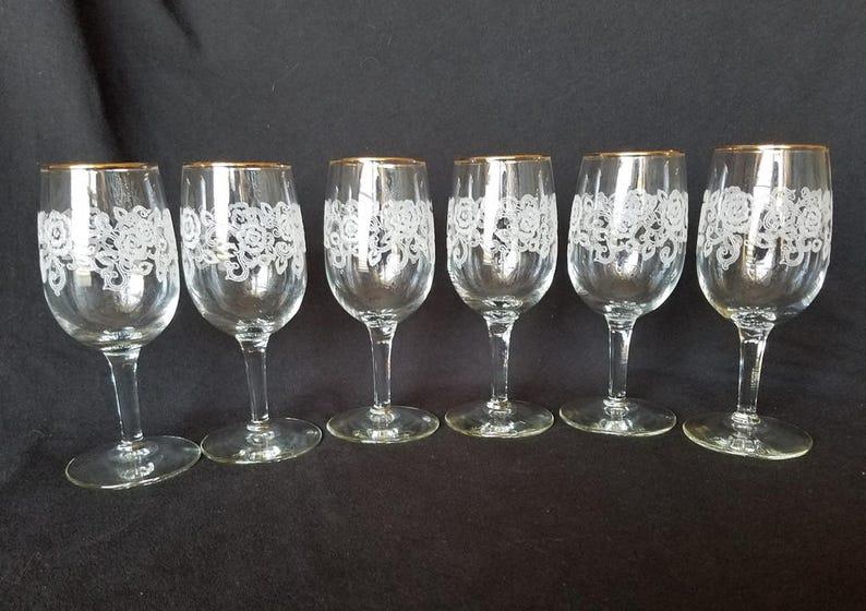 eeb2ccfe78f FLORAL ETCHED STEMWARE Dessert Wine Glasses Gold Rimmed