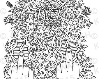 Fuck Colouring Page Etsy
