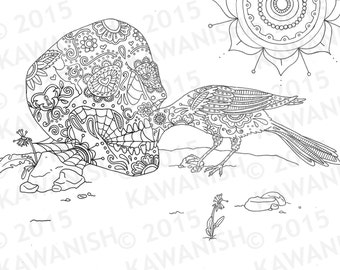 Skull Magpie Bird Mandala Adult Coloring Page Gift Wall Art Line Drawing