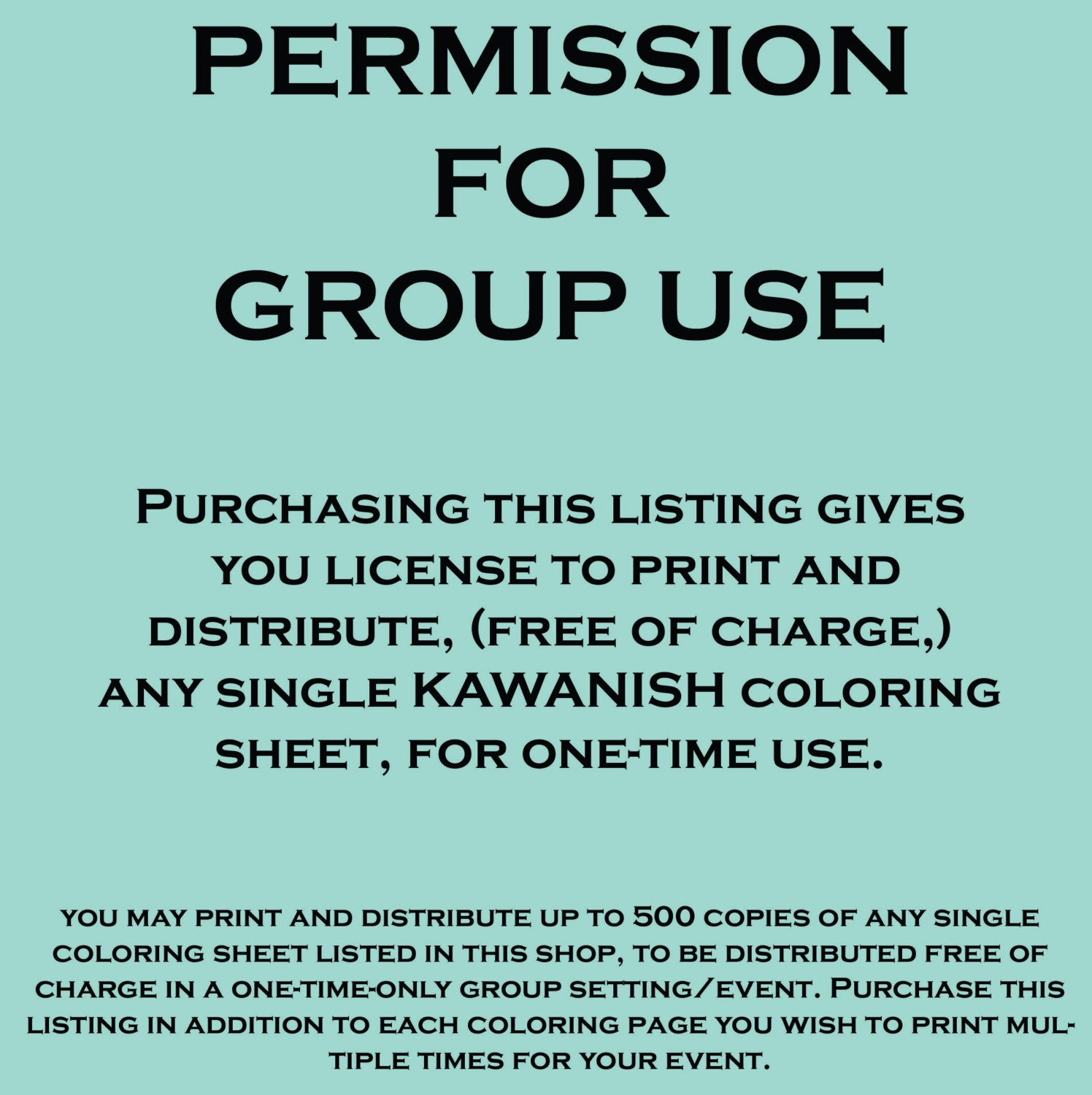 Permission For Group Use for Kawanish coloring page adult line | Etsy