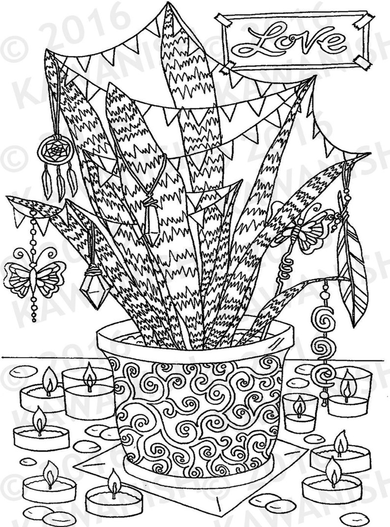 Love Hippie Party Plant Adult Coloring Page Gift Wall Art Etsy