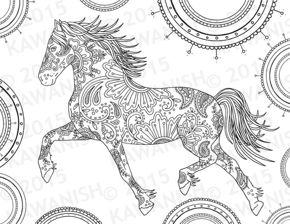 Horse adult coloring page gift wall art mandala zentangle ...