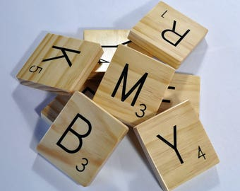 Solid Wood Scrabble Wall Tiles, Personalized, Home Decor, Wall Art, Large Scrabble Tiles