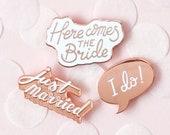 Set of 3 - Wedding Enamel Pin Set - Hen Party Badges - Bachelorette Pins - Hard Enamel Pin - Enamel Pins - Alphabet Bags