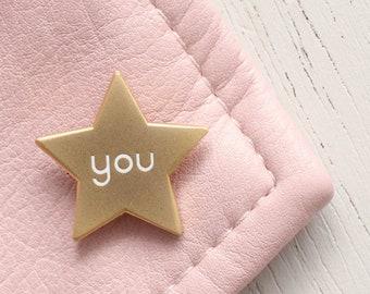 7a1f8fc4969 You Star Enamel Pin - Motivational Pin - Gold Star Pin - Hard Enamel - Enamel  Pin - Flair - Brooch - Lapel Pin - Pin Badge - Alphabet Bags
