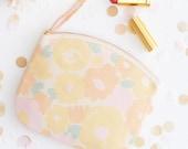 Floral Cosmetics Pouch - Summer Clutch Bag - Flower Makeup Bag - Floral Canvas Pouch - Alphabet Bags