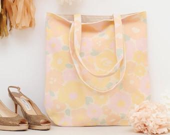 Floral Canvas Bag - Floral Handbag - Shoulder Bag - Floral Tote Bag - Flower Design - Plain Canvas Floral Bag - Alphabet Bags