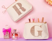 Personalised Makeup Bag - Valentine Makeup Bag - Alphabet Cosmetics Bag - Gift for Her - Rose Gold Initial Makeup Bag - Alphabet Bags