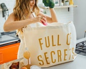 Zoella x Etsy 'Full of Secrets' Oversized Canvas Bag - Giant Canvas Grocery Bag - Large Canvas Shopper - Large Tote Bag
