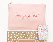 Enamel Pin Set - Canvas Pouch Set - Makeup Bag Set - Mama You Got This - You Go Mama - Motivational Pin - Pink Canvas Pouch - Alphabet Bags