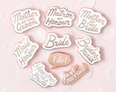 10 Wedding Enamel Pins - Hen Party Badge - Bachelorette Pin - Hard Enamel Pin - Enamel Pins - Alphabet Bags
