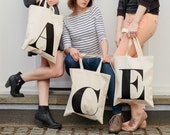SECONDS TOTE BAG - Initial Tote Bag - Personalized Tote Bag - Reusable Canvas Tote Bag - Letter Bag - Shopping Bag - Alphabet Bags