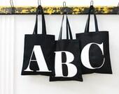 Black Initial Tote Bag - Personalised Tote - Canvas Bag - Canvas Tote - Black Canvas Tote Bag - Letter Bag - Shopping Bag - Alphabet Bag