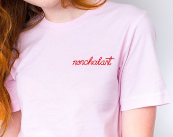 Women's Embroidered Shirt - Crew Neck Slogan T-Shirt - Embroidered Nonchalant Tee - Women's Slogan T-Shirt - Alphabet Bags