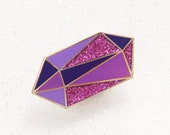 Amethyst Birthstone Pin - February Birthday - Gemstone Pin - Hard Enamel Pin - Enamel Pin Set  - Pins - Birthday Token Gift - Alphabet Bags