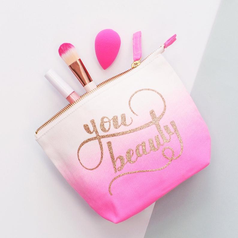 c738ba7f4577 Glitter Cosmetics Bag - Pink Makeup Bag - Women's Toiletry Pouch - Ombre  Effect Bag - You Beauty Ombre Makeup Bag - Alphabet Bags