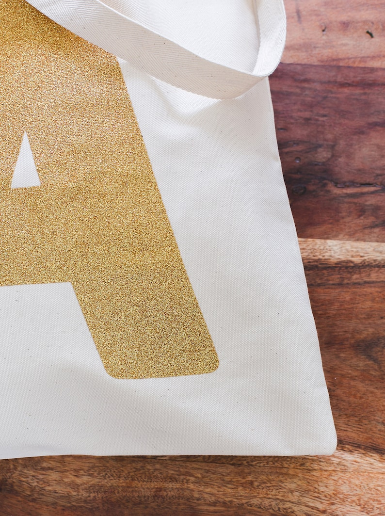 Personalised Tote Eco Reusable Shopping Bag Gold Initial Tote Bag Gold Canvas Tote Bag Alphabet Bag SECONDS Canvas Tote Bag