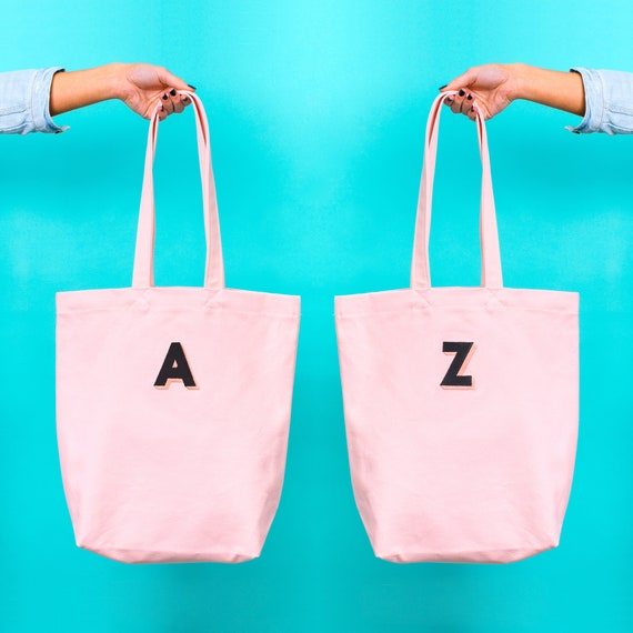 personalised embroidered initial tote bag blush pink tote etsy