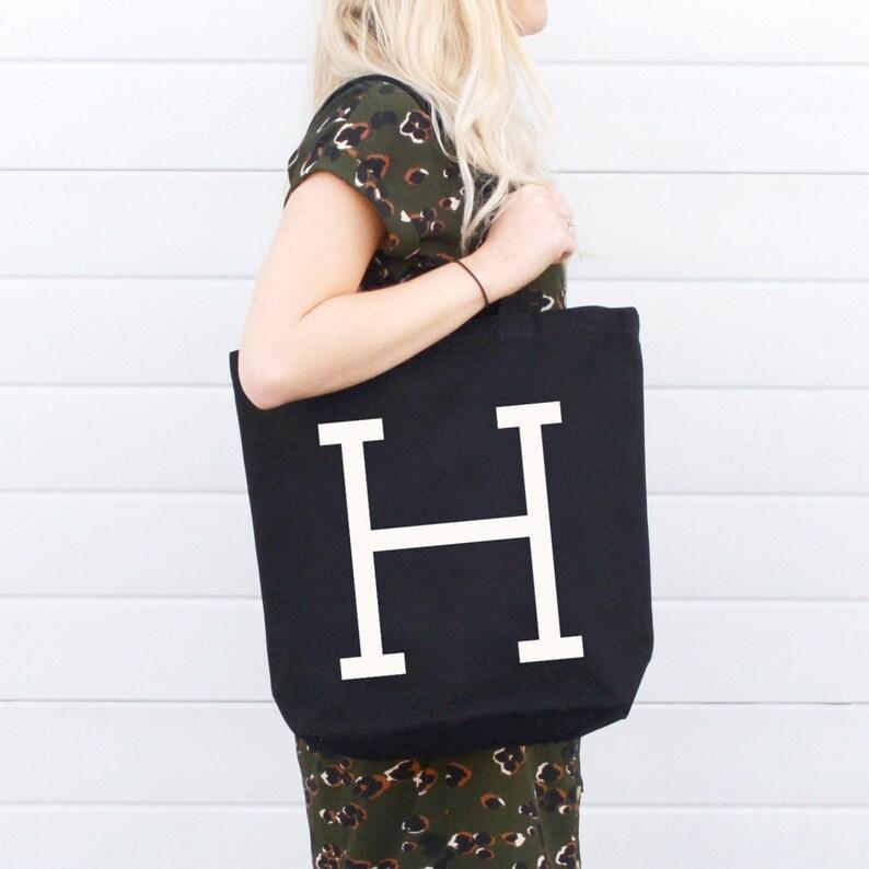 51bf2acfc Personalised Black Initial Tote Bag Alphabet Initial Tote | Etsy