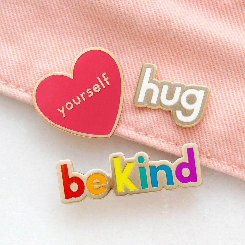 Set of 3 Enamel Pins  Motivational Pins  Fun Pin Badges  Be image 0