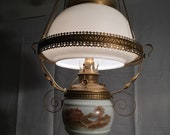 Antique Bradley Hubbard Hanging Parlor Lamp - Oil Lamp Converted to Electric Chandelier