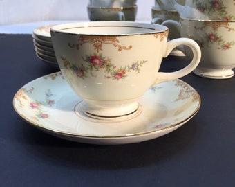 Homer Laughlin Eggshell Nautilus Aristocrat Set Of Four Tea Cups And Saucers