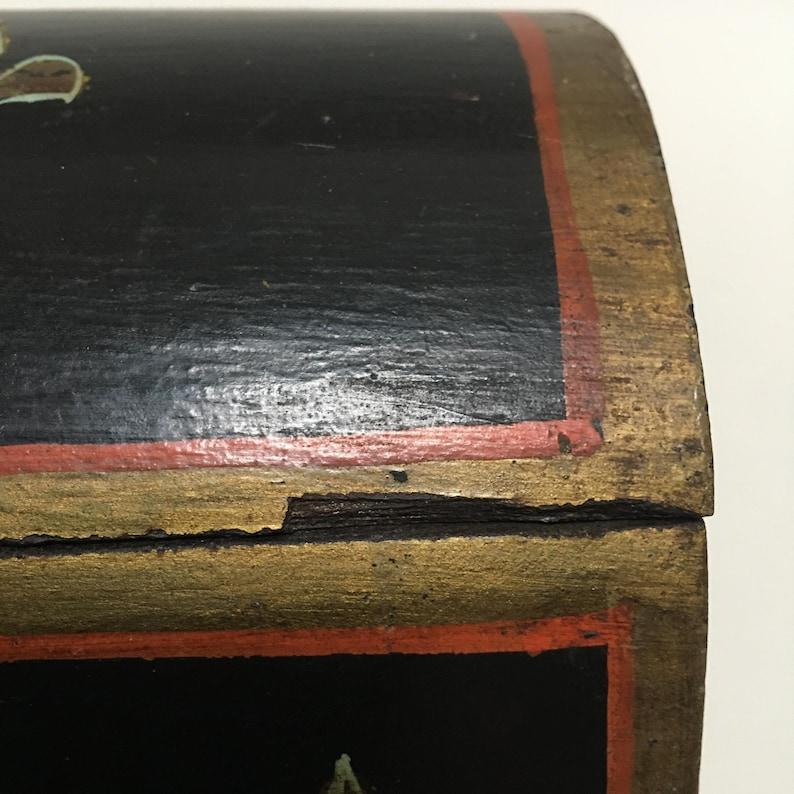 vintage hand painted fleur de lis wood box original paint