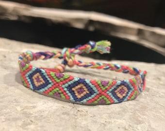 Colorful Diamond-Handwoven, Adjustable Friendship Bracelet