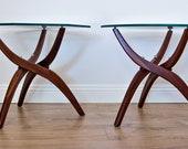 Mid Century Modern Walnut Forest Wilson Accent Tables