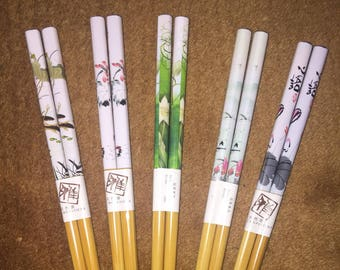 Japanese Water Lily Chopsticks / Hair sticks 5 Variations  w/ Free Handmade Silk Holder