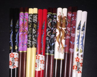 Awesome Wood Japanese Dragon Chopsticks OR  Hairsticks with Free Handmade Colorful Silk Holder