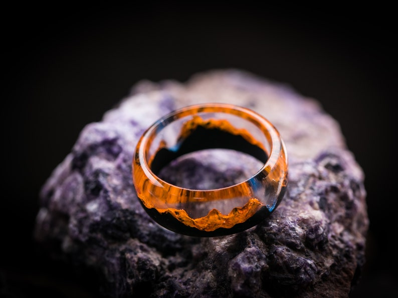 Wood resin ring Autumn Eco epoxy jewelry Green Wood ring the secret of the magical world in tiny landscape Dark soul Orange ring wooden band